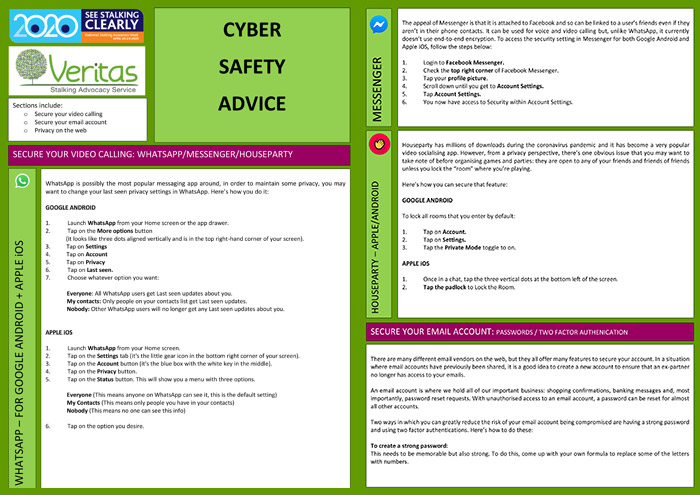 Veritas cyber safety advice leaflet