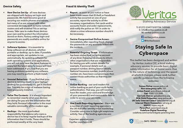 Sussex Police Stalking Leaflet
